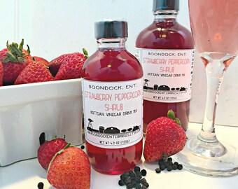Strawberry Peppercorn Shrub - Herbal Infused Vinegar - Drinking Vinegar Tonic - Cocktail Mixer - Non Alcoholic Drink - Boondock Enterprises