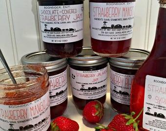 Strawberry Jam - Banana Split Jam - Strawberry Jalapeno Jam - Strawberry Rhubarb Jam - Choose From 5 Different Strawberry Jam Combinations