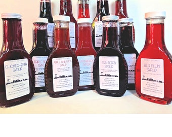 Fruit Syrup Using Whole Berries - 12 Flavor Choices - 10 oz bottle - Farm to Table Pancake Syrup - Breakfast Waffle Bar Syrup