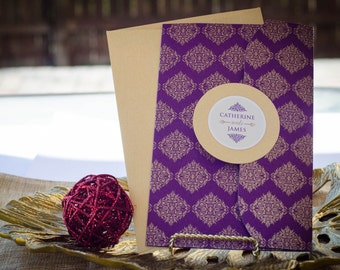 Contemporary Jewels Collection In Plum - Indian Wedding Invitations - An Elegant Pocket with Gold Glitter Motifs in Plum, Gold & Ivory