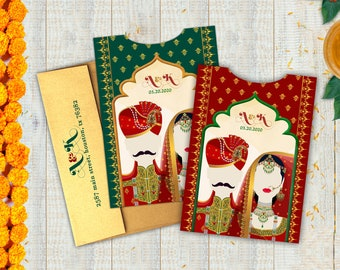 The Vivaah Collection - Indian Wedding Invitations - A Royal Couple Pocket to hold the ensemble