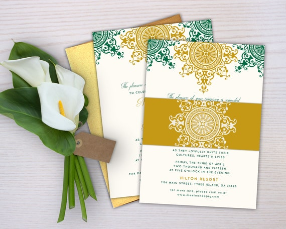 The Azva Collection Indian Wedding Invitation: An ornate   Etsy
