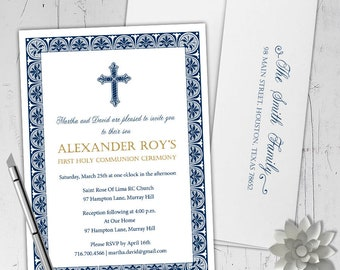 Heavenly Traditions Communion Invitations - An elegant invitation for First Holy Communion, Confirmation & Baptism - Printable or Printed