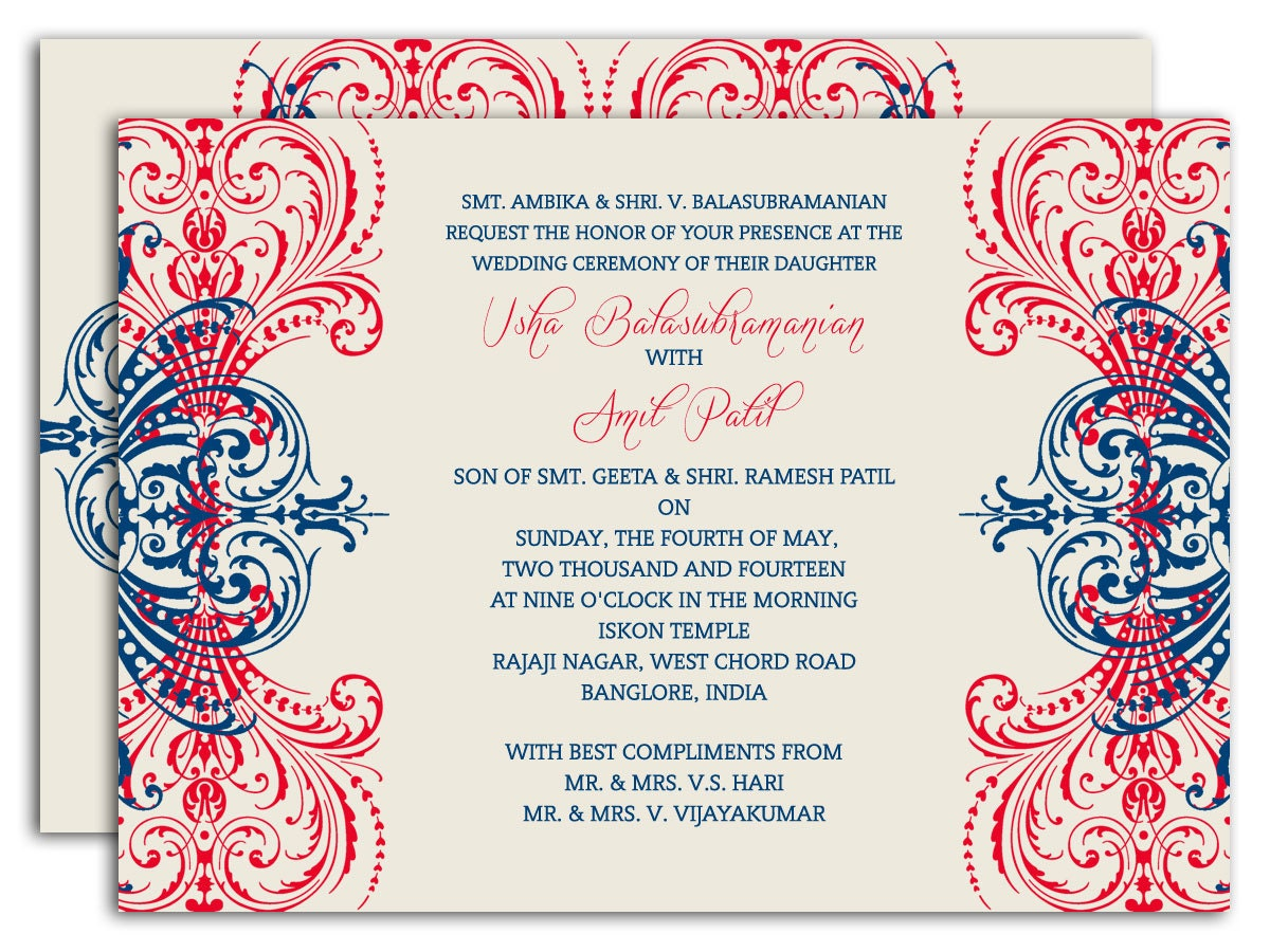 Regal Motif Coral And Navy Indian Wedding Invitation With Intricate Scrolls