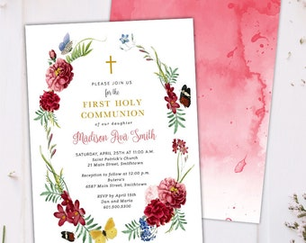 Floral Sprinkle Communion Invitations - An elegant invitation for First Holy Communion & Baptism - Printable or Printed