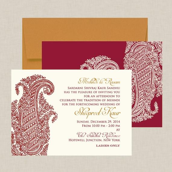 Ornate Paisley Indian Wedding Invitation