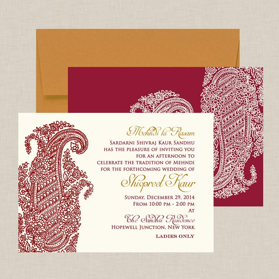 Ornate Paisley Indian Wedding Invitation | Etsy