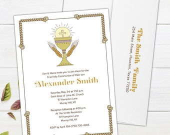 Icon of Faith Communion Invitations - An elegant invitation for First Holy Communion, Confirmation & Baptism - Printable or Printed