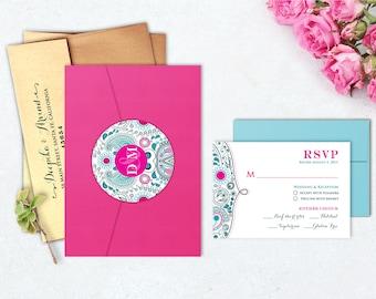 Bombay Paisley - Neo-Mint & Hot Pink - Indian Wedding Invitation
