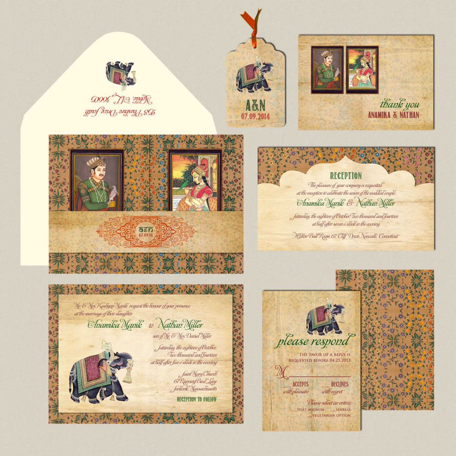 The Mughal Collection Indian Wedding Invitation Gatefold Etsy
