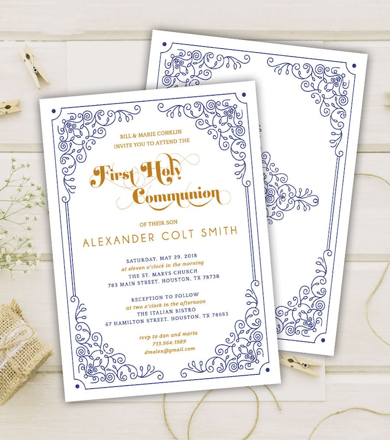 photo regarding Printable Cardstock Invitations titled Uncomplicated Party Communion Invites - Initial Holy Communion Invitation for Boys with an ornate body - Printable or Released