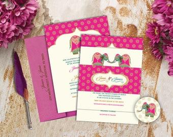Pink Elephant Grandeur Collection - Indian Wedding Invitation