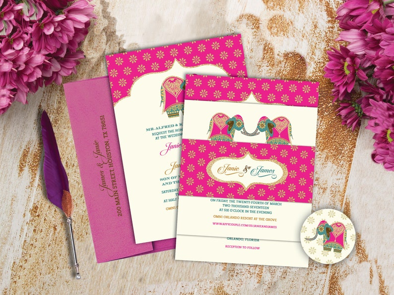 Asian grandeur wedding invites
