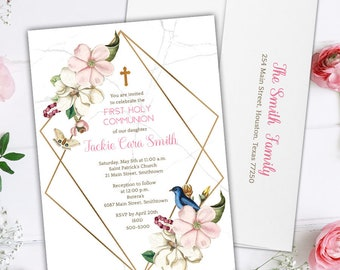 Garden Frame First Communion Invitations - Watercolor Flora Invitations for Communion and Baptism - Printable or Printed