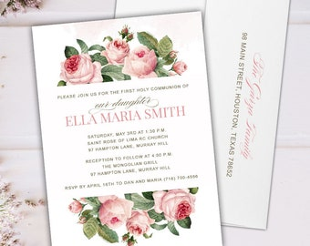 Watercolor Pink Roses First Communion Invitations -  Invitations for Holy Communion and Baptism - Printable or Printed