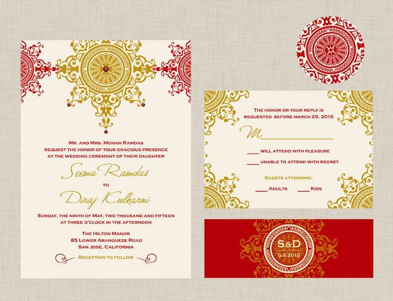 The Azva Collection - Indian Wedding Invitation: An ornate chakra adorned  with rhinestones