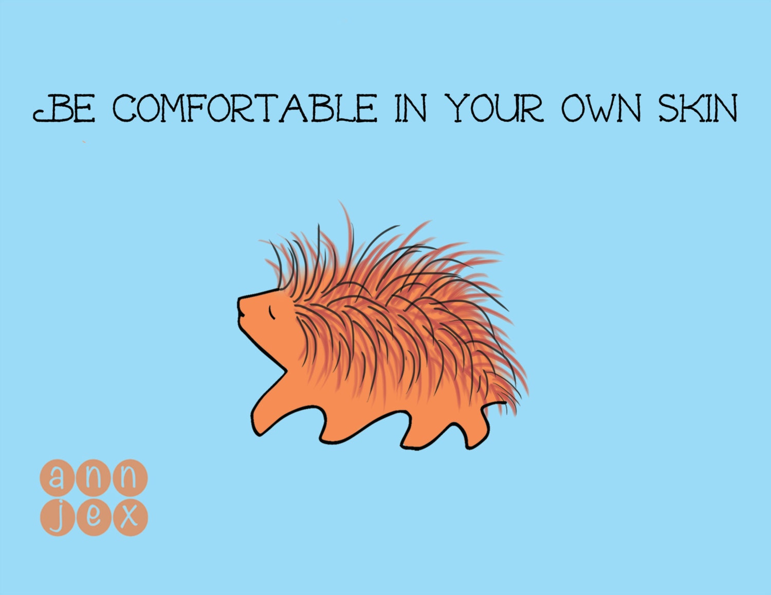 Greeting Card Porcupine Motivational Quote Blank Etsy