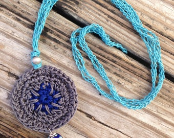 Ceramic Bead Double Strand crochet necklace