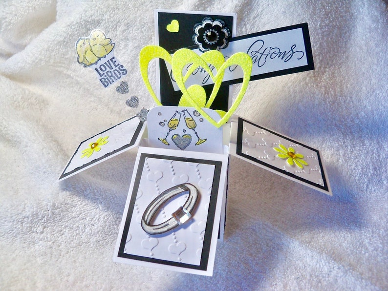 one of a kind design Engagement congratulations pop up exploding box card handmade with embellished engagement ring hearts and love birds