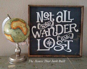 Not all who wander are lost rustic framed sign charcoal teal