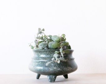 Turned Marble Pot || Vintage Stone Succulent Planter || Green Cactus Planter