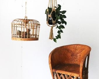 Vintage Boho Rattan Hanging Bird Cage || Caged Wooden Chicken || Bent Wood