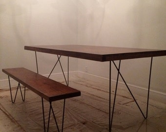Dining table legs etsy pair 28 w solid 716 steel table legs with a durable textured matte black powder coat w dining table legs watchthetrailerfo
