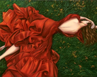 Lady in Red Dress Painting Print 16x32 boxed canvas -