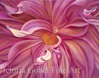 Pink Dahlia II - ORIGINAL PAINTING by Victoria Gobel - 24 x 30 Acrylic painting on Canvas