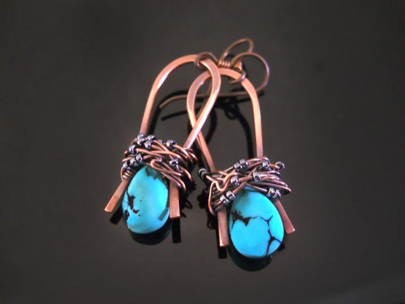 Omega Copper Wrap Earrings with Gemstone Briolette image 0