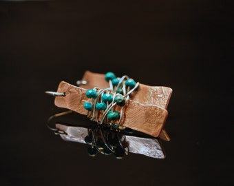 Copper Rectangle Textured Earrings with Sterling Silver Wrapped Turquoise Beads
