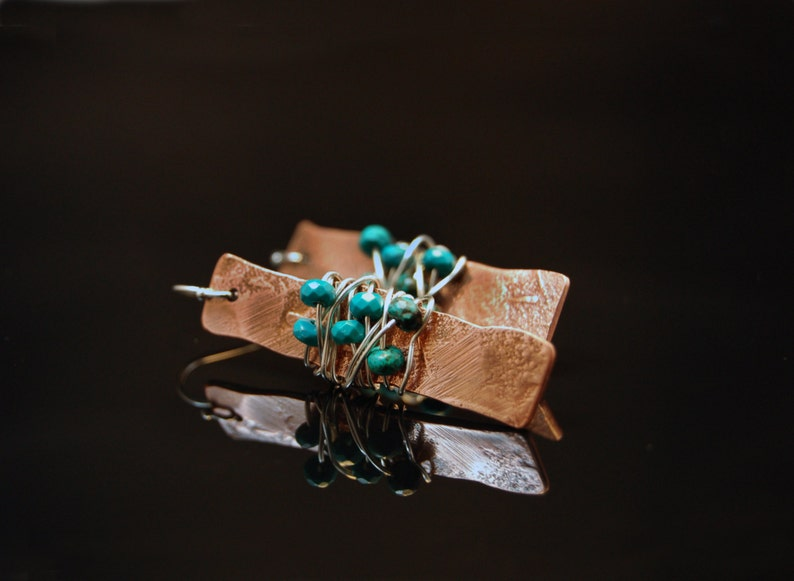 Copper Rectangle Textured Earrings with Sterling Silver image 0