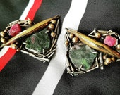 Margaret Ellis Ruby and Zoisite Sterling Earrings Mixed Metal Glamour Check out the pair listed