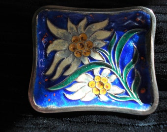 Antique Enamel Sterling Silver Art Nouveau Brooch. Gorgeous!