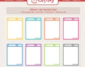 Where I Am 3x4 inch Journal Card for Pocket Scrapbooking or Project Life set of pdf printable, jpg, png and arb brush