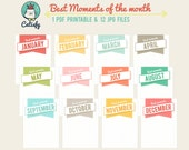 Monthly Project Life Cards 3x4 Printable Journal Cards for Pocket Scrapbook and Planner - Best Moment of the Month - Instant Download