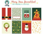 Merry XMas 3x4 inch Journal Card Printable for Pocket Scrapbooking and Project Life