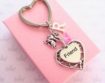 4d4361aaa Friendship keyring - Cute bunny keychain - Rabbit keyring for friend -  Friend Birthday gift - Bunny keyring - Friend gift - Stocking filler