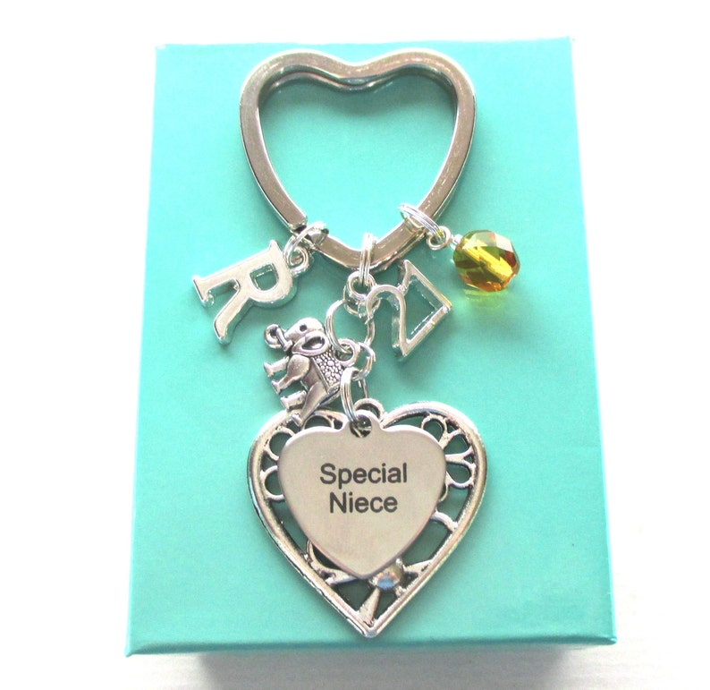 Special Niece Gift Birthstone Keyring For 21st