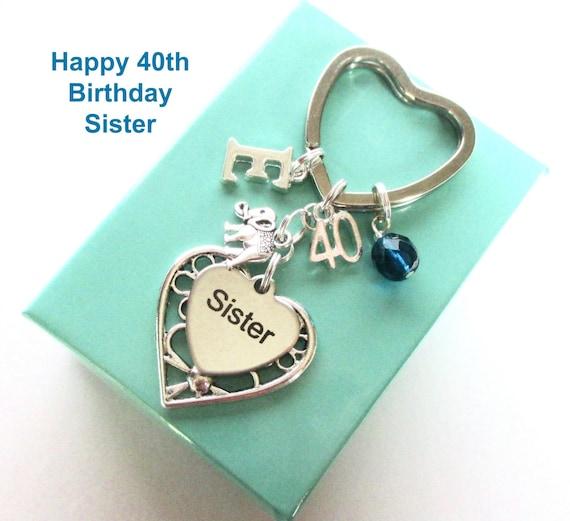 Personalisierte 40 Geschenk Für Schwester 40 Geburtstag Schwester Schlüsselanhänger Elefanten Schlüsselanhänger Schwester Zum Geburtstag 40