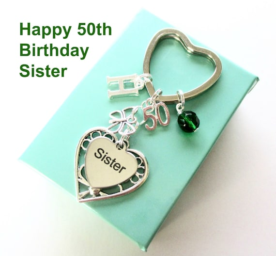 50th Birthday Gift For Sister Personalised Keyring