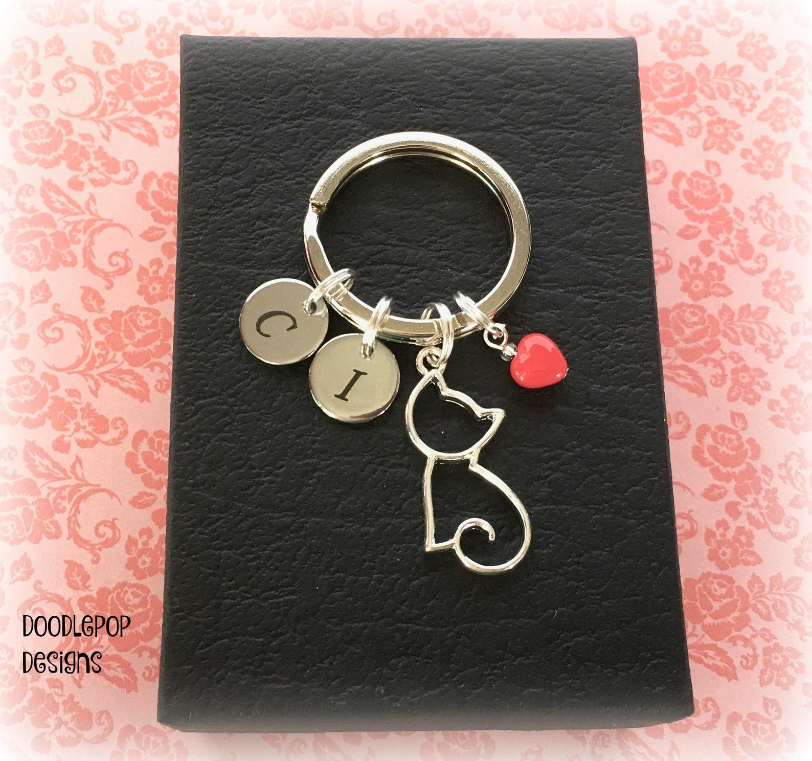 Personalized Valentine Kitty Cat Key Ring