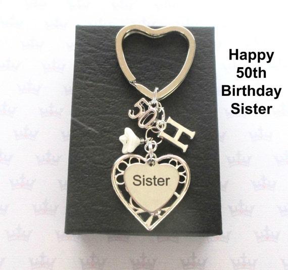 Schwester 50 Geburtstag Geschenk 50 Schlusselanhanger Etsy