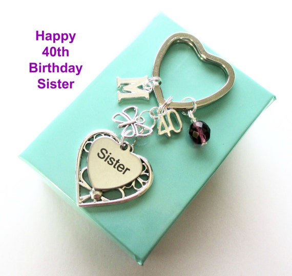 40th Birthday Gift For Sister Personalised Keyring