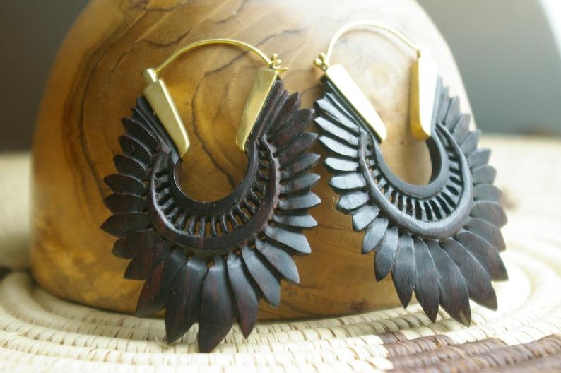gypsy jewelry festival style dark wood mandala earring in carved wood