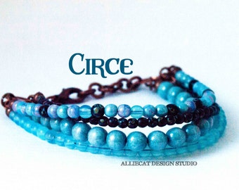 Boho Bracelet, Bohemian Bracelet, Boho Circe Blue Black Bracelet (6-7 inches)