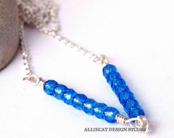 Bohemian Necklace | Boho Necklace | Gypsy Blue Shimmer V Silver Necklace | NEW