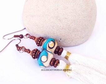 Boho Earrings | Bohemian Earrings | Gypsy Blue White Tassel Earrings | One Of A Kind | Bespoke