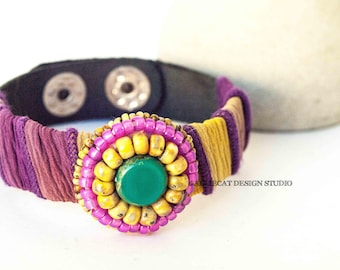 Bohemian Cuff, Boho Cuff, Boho Leather Spring Pink Yellow Turquoise Cuff Bracelet  (6 - 7 inch)