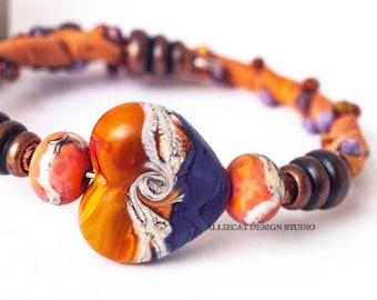 Bohemian Wrap Bracelet, Boho Wrap Bracelet, Gypsy OOAK Orange Purple Heart | NEW Single Wrap Cuff